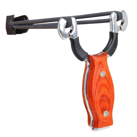 VERRY100AXE Pro Wood Handle Stainless Steel Slingshot